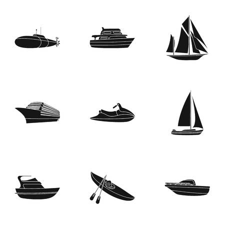 thunderstorms: Sea transport, boats, ships. To transport people, thunderstorms. Ship and water transport icon in set collection on black style vector symbol stock web illustration.