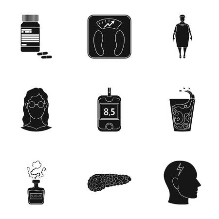 diabetes syringe: A set of icons about diabetes mellitus. Symptoms and treatment of diabetes. Diabetes icon in set collection on black style vector symbol stock illustration.
