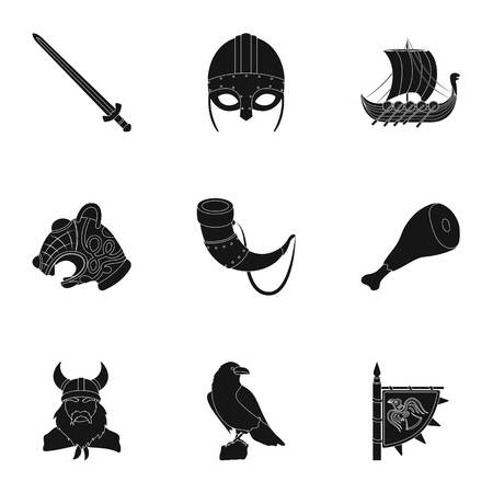 Ancient Warriors Of The Vikings On The Ship Outfit And Symbols