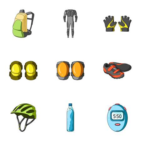 elbow pads: Icons of Cycling, bike. Set for bike, backpack protection, repair, form. Illustration