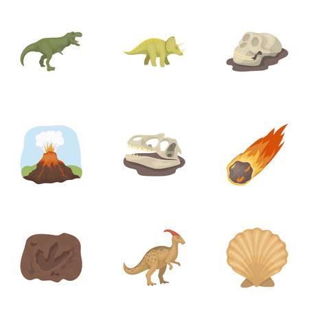 Alte ausgestorbene Tiere und ihre Spuren und Reste. Dinosaurier und prähistorischen Symbol in Set-Sammlung auf Cartoon-Stil Vektor-Symbol stock Web-Illustration.