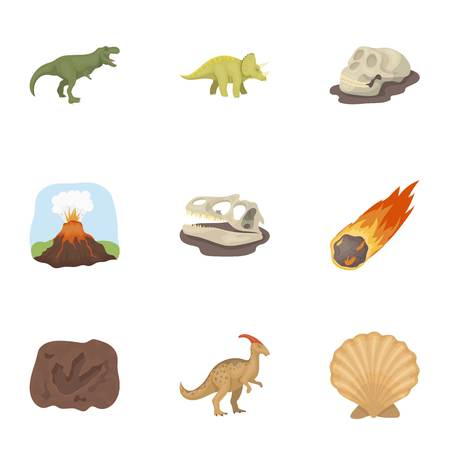 frozen meat: Ancient extinct animals and their tracks and remains. Dinosaurs and prehistorical icon in set collection on cartoon style vector symbol stock web illustration. Illustration