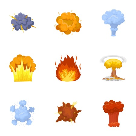 A set of icons about the explosion. Various explosions, a cloud of smoke and fire. 向量圖像