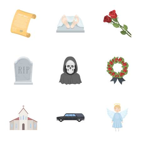 corpses: Funeral ceremony, cemetery, coffins, priest.Funeral ceremony icon in set collection on cartoon style vector symbol stock illustration. Illustration