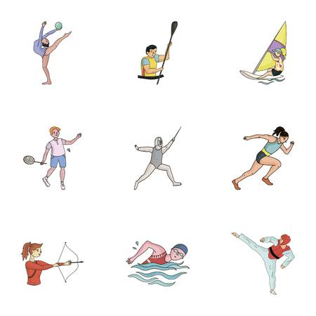 Winter and summer sports. A set of pictures about athletes.Olympic sports icon in set collection on cartoon style vector symbol stock illustration. Illustration