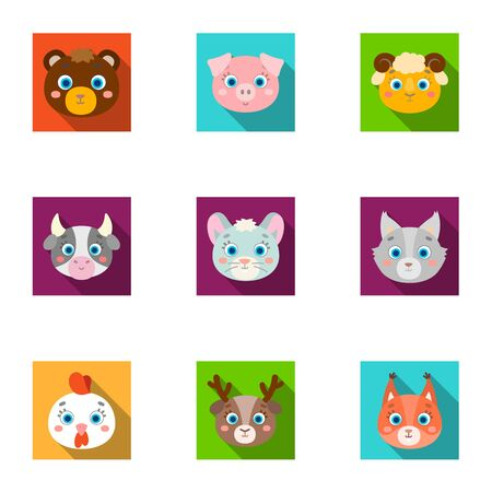 grey cat: Wild and domestic animals. A set of pictures about animals. Animal muzzle icon in set collection on flat style vector symbol stock illustration.