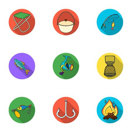 Summer and winter fishing, outdoor recreation, fishing, fish.Fishing icon in set collection on flat style vector symbol stock illustration. Illustration
