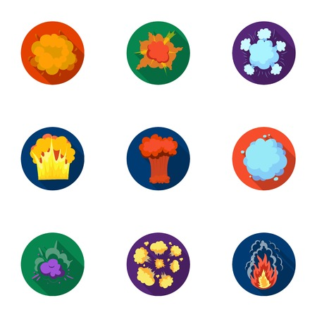 A set of icons about the explosion. Various explosions, a cloud of smoke and fire.Explosions icon in set collection on flat style vector symbol stock illustration. 向量圖像
