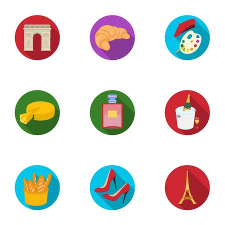 Attractions in France. Things to learn about France. France country icon in set collection on flat style vector symbol stock illustration.