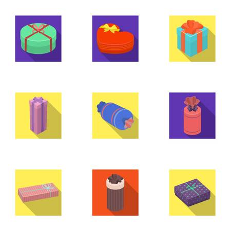 A set of pictures gifts. Gifts for different holidays, surprises. Gift packaging.Gifts and cert icon in set collection on flat style vector symbol stock illustration.