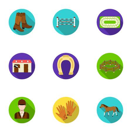 Races on horseback, hippodrome. Horse racing and equipping riders.Hippodrome and horse icon in set collection on flat style vector symbol stock illustration. Illustration