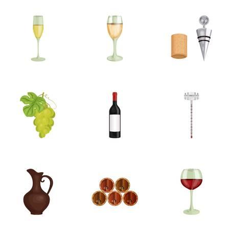 ワイン製品。成長のブドウ、ワイン。つる生産アイコン漫画スタイルのベクトル シンボル ストック イラストをセットのコレクション。