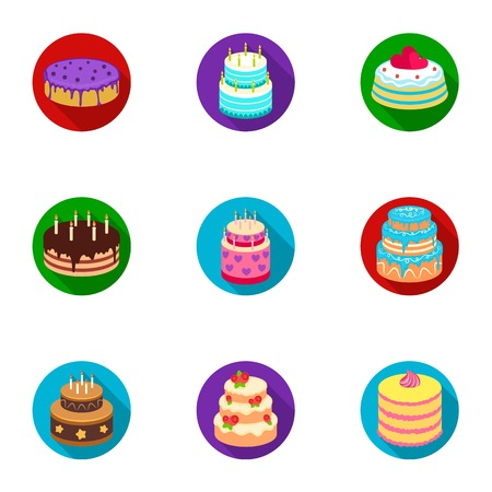 the sprouting: Cakes for the holidays. A set of different sweets. Beautifully decorated cakes and muffins.Cakes icon in set collection on flat style vector symbol stock illustration.