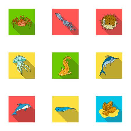 Marine and river inhabitants. Fish, whales, octopuses.Sea animals icon in set collection on flat style vector symbol stock web illustration.