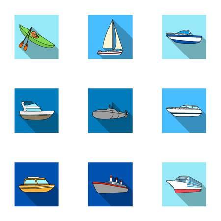Zeevervoer, boten, schepen. Om mensen te bewegen, onweersbuien. Schip en water transport pictogram in set verzameling op plat stijl vector symbool stock web illustratie. Stock Illustratie