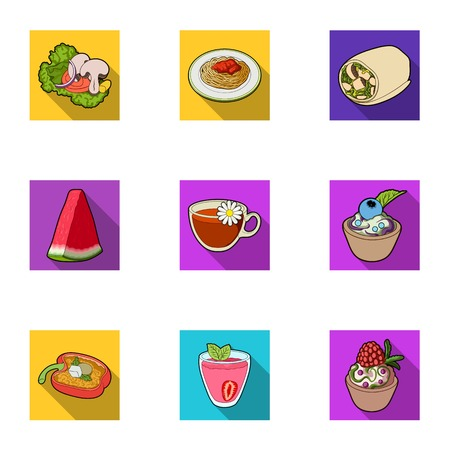 Pictures about vegetarianism. Vegetarian dishes, food vegetarian. Vegetables, fruits, herbs, mushrooms. Vegetarian dishes icon in set collection on flat style vector symbol stock illustration.