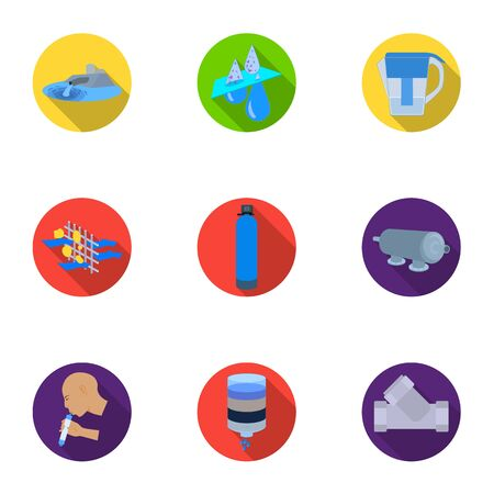 Set of icons on the theme of water. Water is the most important in the world. water filtration icon in set collection on flat style vector symbol stock illustration.