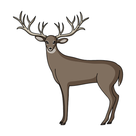 Deer with big horns.Animals single icon in cartoon style rater,bitmap symbol stock illustration web. Фото со стока
