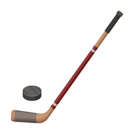 Bâton de hockey et laveuse. Icône unique au Canada dans le style cartoon rater, bitmap symbole stock illustration web. Banque d'images - 77588002