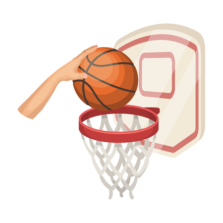 Hand with a ball near the basket. single icon in cartoon style rater,bitmap symbol stock illustration web.