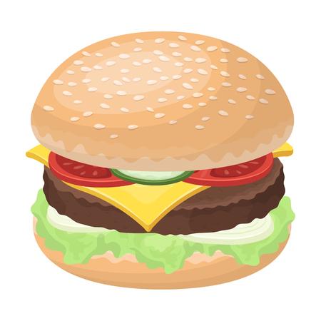 すべての材料を準備ハンバーガー。ハンバーガーや食材は単一ビットマップ シンボル ストック イラスト漫画スタイル評価者のアイコンです。