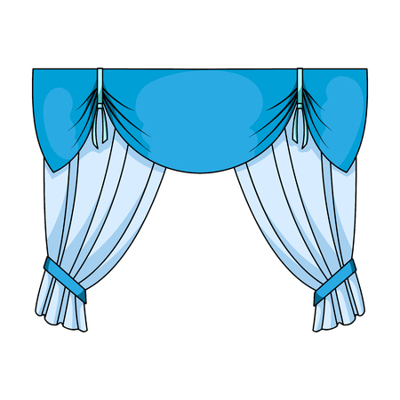 home theater: Curtains with drapery on the cornice.Curtains single icon in cartoon style rater,bitmap symbol stock illustration web.
