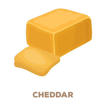 Cheddar.Different kinds of cheese single icon in cartoon style rater,bitmap symbol stock illustration web.