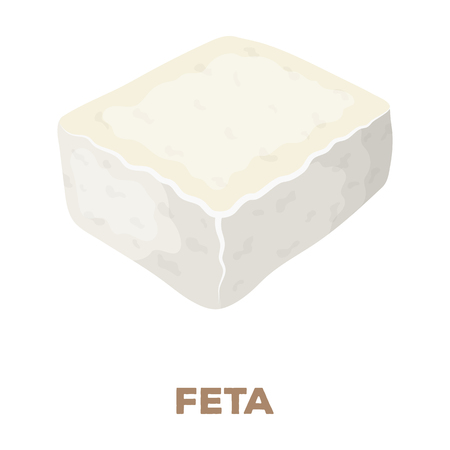 Cheese feta.Different kinds of cheese single icon in cartoon style rater,bitmap symbol stock illustration web.