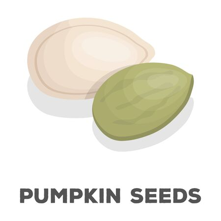 Pumpkin seeds.Different kinds of nuts single icon in cartoon style rater,bitmap symbol stock illustration. Imagens