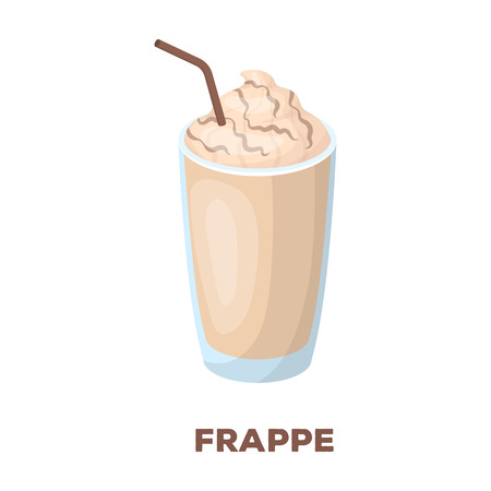 A glass of frappe.Different types of coffee single icon in cartoon style rater,bitmap symbol stock illustration web.