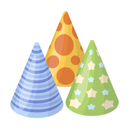 happybirthday: Caps in the form of cones for party.Party and parties single icon in cartoon style rater,bitmap symbol stock illustration. Stock Photo