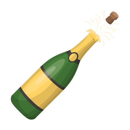 popping cork: A bottle of champagne with a cork.Party and parties single icon in cartoon style rater,bitmap symbol stock illustration.