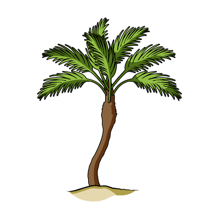 Palm beach tree.Summer rest single icon in cartoon style rater,bitmap symbol stock illustration. Фото со стока