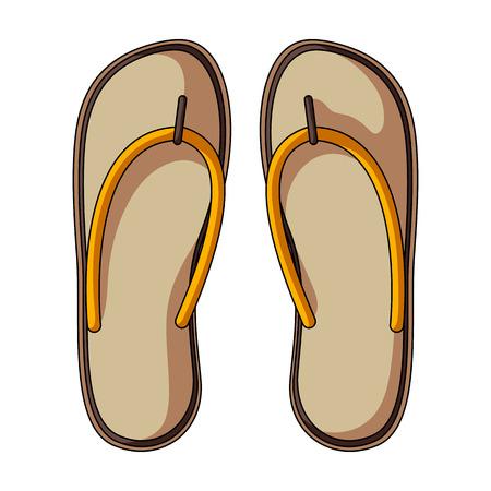 Beach flip flops.Summer rest single icon in cartoon style rater,bitmap symbol stock illustration.
