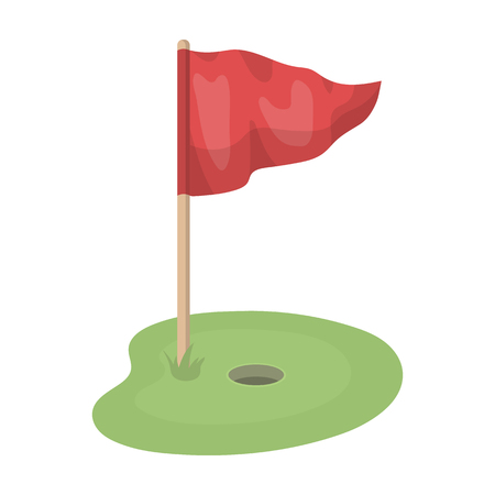Flag and golf course.Golf club single icon in cartoon style vector symbol stock illustration web.
