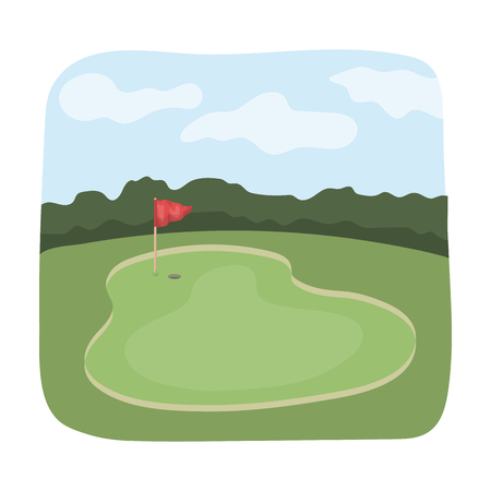 Golf course.Golf club single icon in cartoon style vector symbol stock illustration web. Фото со стока - 77611432