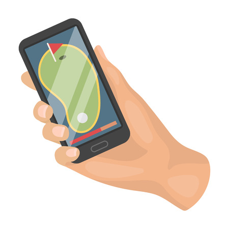Navigator in the golf course phone.Golf club single icon in cartoon style vector symbol stock illustration web.