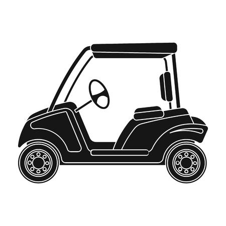 Auto voor golf. Golfclub enig pictogram in het zwarte Web van de de voorraadillustratie van het stijl vectorsymbool.
