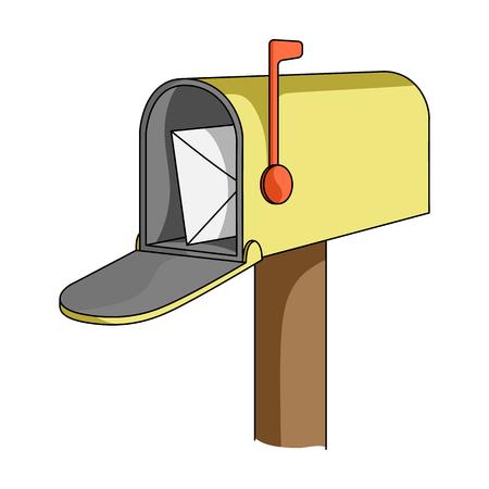 통신 상자입니다. 우편물과 우체부 만화 스타일에서 단일 아이콘 벡터 기호 재고 일러스트 웹입니다.
