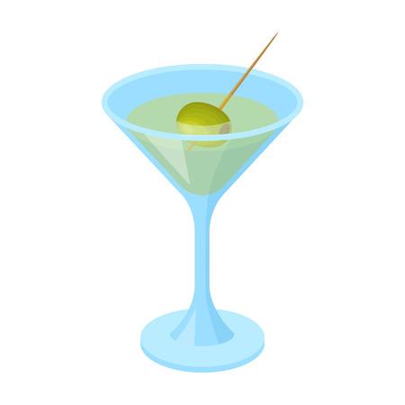 Un bicchiere di alcool con oliva. Le olive scelgono l'icona nell'illustrazione delle azione di simbolo di vettore di stile del fumetto.