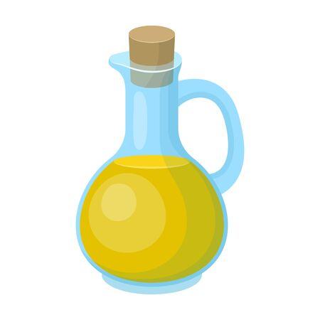 Coloured pitcher with olive oil. Illustration
