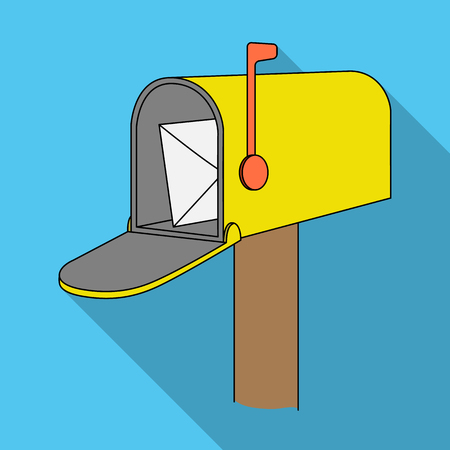 Correspondence box.Mail and postman single icon in flat style vector symbol stock illustration .