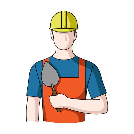 ビルダーの石工。職業は単一漫画スタイルのベクトル シンボル ストック イラスト web のアイコンです。
