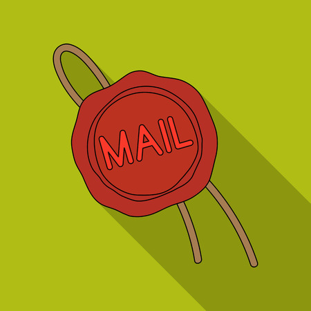 Wax seal.Mail and postman single icon in flat style vector symbol stock illustration .