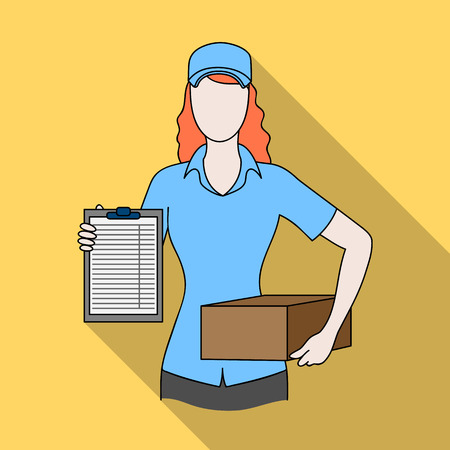 Postal courier.Mail and postman single icon in flat style vector symbol stock illustration . Illustration