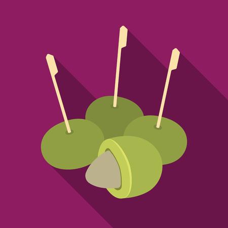 Oliva con una pietra su un bastone Le olive scelgono l'icona nel web piano dell'illustrazione delle azione di simbolo di vettore di stile.
