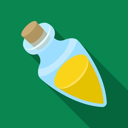 Recipiente con aceite de oliva. Solo icono de aceitunas en estilo plano vector símbolo stock ilustración web. Vectores