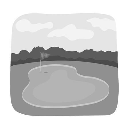 Golf course.Golf club single icon in monochrome style vector symbol stock illustration web. Иллюстрация