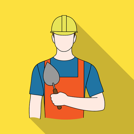 Builder mason.Professions single icon in flat style vector symbol stock illustration web.