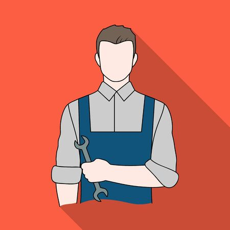 Fitter mechanic.Professions single icon in flat style vector symbol stock illustration web.